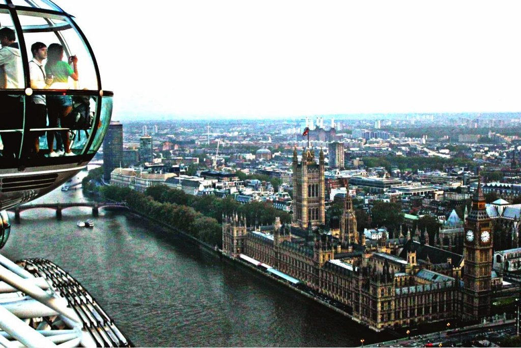 Subindo à London Eye em Londres