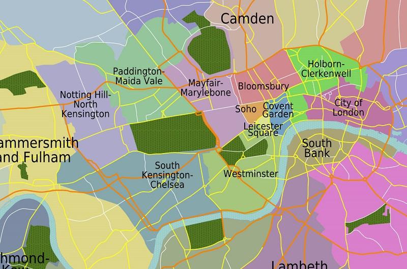 Bairros e regiões dentro do centro turístico de Londres