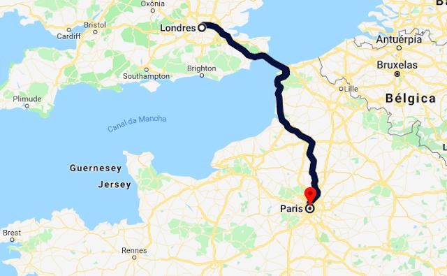 Mapa da viagem de trem de Londres a Paris