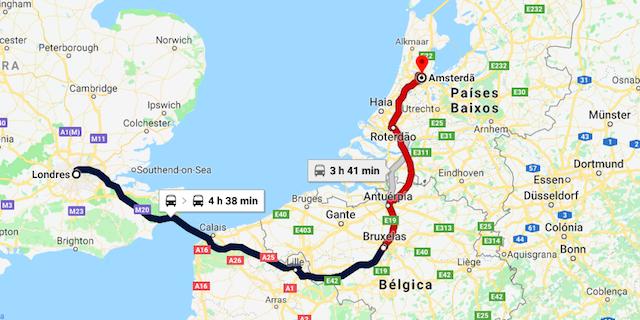 Mapa da viagem de trem de Londres a Amsterdã