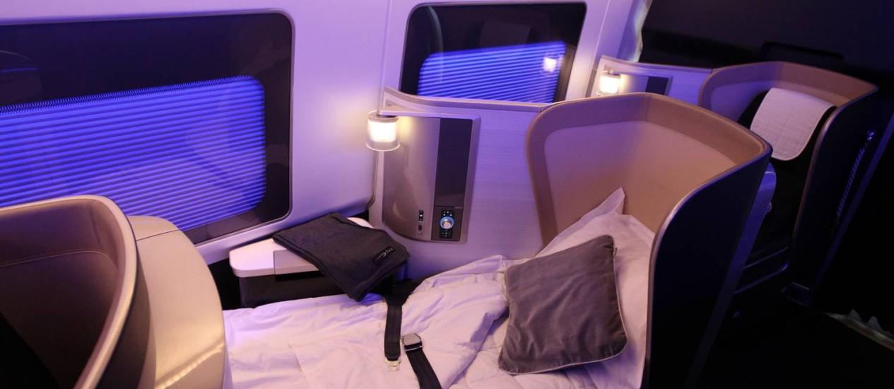Noite em primeira classe de avião