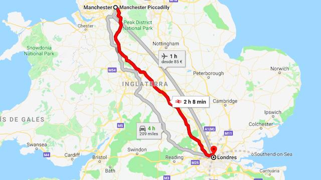 Mapa da viagem de trem de Manchester a Londres