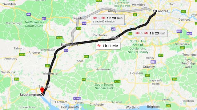 Mapa da viagem de trem de Londres a Southampton