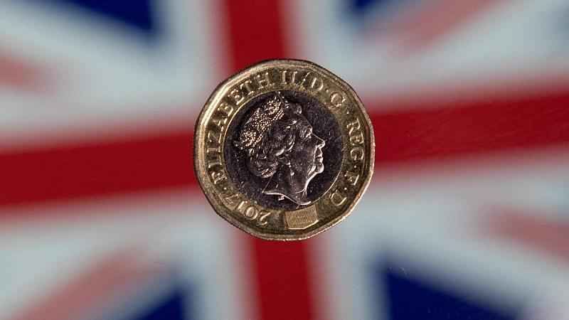 Moeda de libra em bandeira da Inglaterra