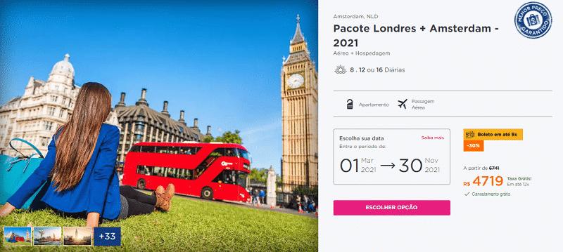 Pacote Hurb para Londres e Amsterdã por R$ 4.719